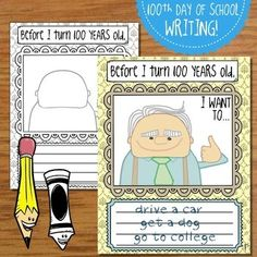Happy 100 Days of School! Here's a fun writing & art project for your kiddos to complete on the day. Invite your students to imagine what they want to do & accomplish before they turn 100 years old. Your class is sure to have a blast writing about 100th Day Of School Crafts, 100 Day Of School Project, School Fun, School Projects, 100 Days Of School Centers, 100 Days Of School Project Kindergartens, 100 Day Project Ideas, School Ideas, Art Projects
