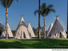 Wigwam Motel on Route 66 in Rialto/San Bernardino, California, also known as Wigwam Village #7. Seven Wigwam Villages, with individual rooms shaped like tipis, were built across the country between 1933 and 1949. Photo, October 31, 2009 by Carol M. Highsmith. Carol M. Highsmith's America, Library of Congress, Prints and Photographs Division.
