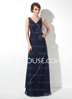 Evening Dresses - $144.99 - A-Line/Princess V-neck Floor-Length Chiffon Evening Dress With Ruffle Beading Sequins (017020681) http://jjshouse.com/A-Line-Princess-V-Neck-Floor-Length-Chiffon-Evening-Dress-With-Ruffle-Beading-Sequins-017020681-g20681