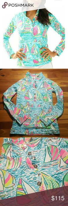 "Lilly Pulitzer You Gotta Regatta Popover Lilly Pulitzer nautical sailboat print called You gotta regatta"", pretty neon colors. Very fitted and chic. Soft and stretchy. Size XXS, worn 1x. Great like new condition. Lilly Pulitzer Sweaters"