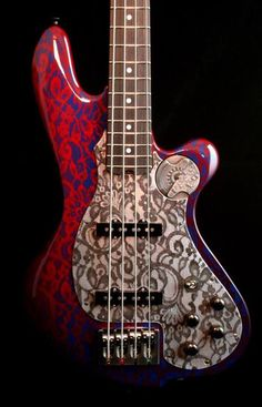 Custom M-tone Boki Bass. RESEARCH DdO:) - https://www.pinterest.com/DianaDeeOsborne/basses-of-life/ - BASSes OF LIFE: NoTreble magazine reported in August 2014, QUOTE: M-Tone Guitars made their first bass earlier this year, and by the looks of it, they got it right the first time. Photo = a #Bass of the #Week. Hand built in Portland, Oregon with a super light one piece swamp ash body with gorgeous floral paint job motif is carried over to its steel pickguard.