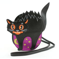 Halloween Kitty Witch Cat Coin Purse Buckle Vintage PU Pouch Kiss-lock Wallet for Women Girl
