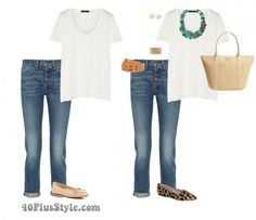 How to complete your outfits with accessories - blue jeans white tee turquoise necklace | 40plusstyle.com