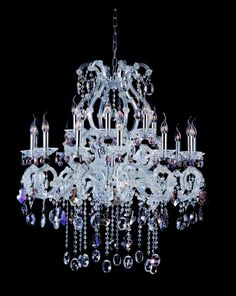 Allegri 10069 Lorrain 18 Light Two Tier Chandelier Chrome with Firenze Mix Crystals Indoor Lighting Chandeliers