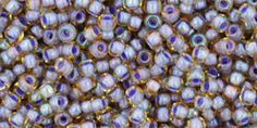 Toho 11/0 Round Japanese Seed Bead, TR11-926, Inside Color Light Topaz/Opaque Lavender Lined