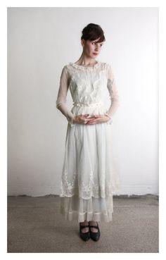Antique Mesh Dress . Edwardian Gown . 1910s Bridal by VeraVague, $450.00