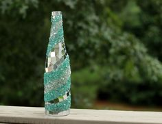 Mosaic teal wine bottle,Wine bottle,Home decor, Wine bottle decor, Glass bottle,Wine bottle art, Unique wine lover gift,Wine enthusiast gift