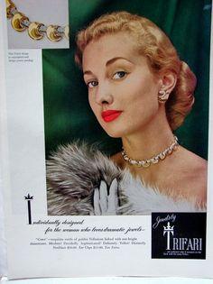 1948 Trifari Comet costume rhinestone vintage jewelry ad (tisa2)