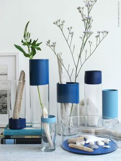 Ikea glass vases painted with a touch of blue