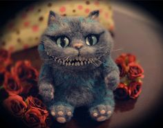Handmade cute Needle felting project wool animals cheshire cat(Via @xuehan_cheng)