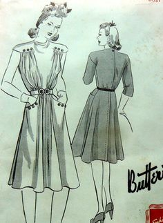 1940s DRESS BUTTERICK Sewing Pattern