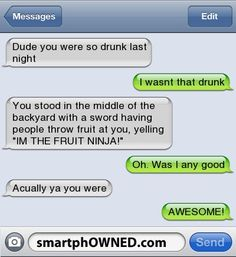 Dude you were so drunk last night! - Funny Text - - Dude you were so drunk last night! The post Dude you were so drunk last night! appeared first on Gag Dad. Really Funny Texts, Funny Drunk Texts, Funny Texts Jokes, Text Jokes, Funny Text Fails, Drunk Humor, Cute Texts, Stupid Funny Memes, Funny Relatable Memes