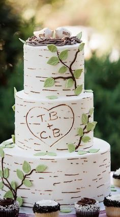 This rustic wedding cake resembles a birch tree with the couple's initials carved in it