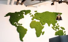 Evergreen Premium, world map, project: Clinton Moss Wall Art, Moss Art, Island Moos, Graffiti Designs, Wall Maps, Plant Wall, Home And Deco, Green Plants, Diy Wall
