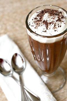 Chocolate Mousse  1.  1/2 cup + maybe an 1/8th cup more semi-sweet chocolate chips in the microwave (no water) melted.  2.  Separate two eggs.  3.  Whisk the egg whites on medium-high with a pinch of salt until white, thick and very fluffy.  4.  Mix the egg yolks into melted chocolate.  5.  Mix chocolate mixture into egg white mixture.  6.  Stick it in the fridge. Makes a single serving.