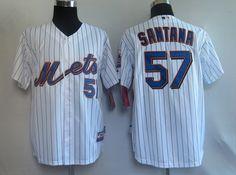 $22.00 MLB Jerseys New York Mets Johan Santana #57 White Blue Strip