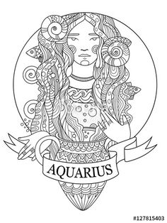 Aquarius zodiac sign coloring page for adults | Fotolia 127815403