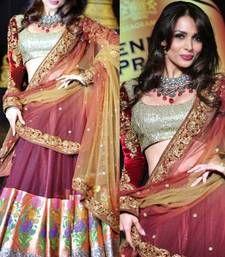 Buy violet embroidered net unstitched lehenga with dupatta bollywood-lehenga online