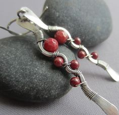Silver Hammered Earrings with Red Coral/ Silver Wire by mese9, $30.00