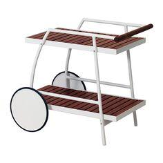 IKEA - VINDALSÖ, Tarjoiluvaunu ulkokäyttöön, Tarjoaa helposti liikuteltavaa säilytystilaa.Liikkuu pehmeästi kumipäällysteisten pyörien ansiosta.Kestävyyden lisäämiseksi ja puun luonnollisen ilmeen korostamiseksi kaluste on esikäsitelty läpikuultavalla petsillä.Ruostumaton alumiinirunko on tukeva ja kevyt eikä vaadi huoltoa.