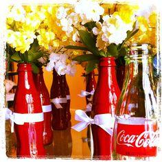 Spray painted Coke bottles for DIY flower vases  @Keith Savoie Stout