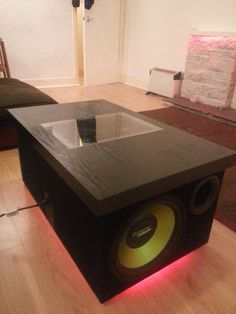 My Ikea coffee table had a couple of elbow sized holes in it due to some arm wrestling at a party - so this started off as a need to flip the table top over, when I remembered I had a couple of car subwoofers taking up space in a cupboard! Due to just working with wood, you can pretty much wing this!