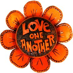 Vintage 1970's Love One Another Orange Hippy Flower Wall Hanging (420 MXN) ❤ liked on Polyvore featuring home, home decor, wall art, fillers, hippie, words, art, flowers, orange wall art and wall home decor