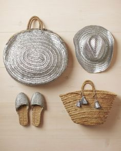 Spray-Painted Straw Accessories - Brighten up clothes, accessories, and toys with our easy painting crafts. With just a can of silver spray paint, you can transform a humble straw hat into a chic make-it-yourself accessory you'll use all season.