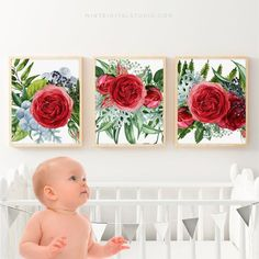 Nothing says love like a beautiful red rose bloom. Share special moments with your baby amidst this stunning trio of rose fine art prints. You will adore the look of this set on a feature wall in your babys nursery. This gorgeous set features instant downloads of three images from
