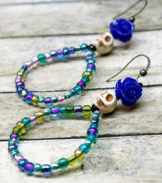 How To Make Earrings, Beaded Earrings, Beaded Jewelry, Handmade Jewelry, Beaded Bracelets, Metal Jewelry, Hoop Earrings, Skull Bracelet, Skull Necklace