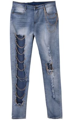 Pencil Pants Jeans Sexy Hole Ripped Distressed Chain Denim Pants