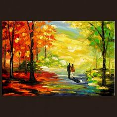 park green orange limited ediition giclee from original painting STRETCHED canvas Impressionism Print
