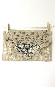 Handmade Crochet Pouch Fabric Envelope Victorian Beige and Cream