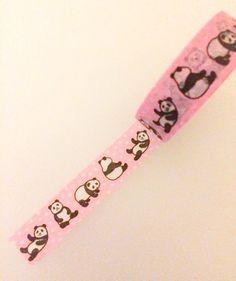 Japanese Washi Tape  Pink with Pandas and Polkadots by PasoKuma