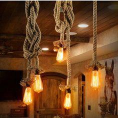 Retro Rope Pendant Light Loft Vintage Lamp Restaurant Bedroom Diningroom DIY Decorative Pendant Lamp Hand Knitted Fastshipping