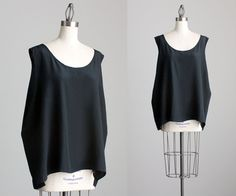 90s Vintage Silk Black Loose Fit Tank Top / Extra Large by decades, $42.00