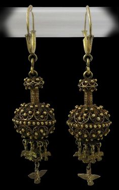 Pair of silver gilt filigree earrings | La Alberca, Sierra de Francia, Salamanca, Spain | ca. early to mid 19th century