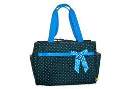 "Polka Dot Diaper Tote Beach Bag 16"" wide Large Dark Brown, Blue Brand New!"