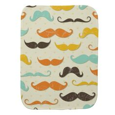 Moustache Print Vintage Orange Teal Little Man Burp Cloth