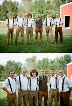 groomsmen in suspenders for farm wedding #groomsmen #suspenders #weddingchicks http://www.weddingchicks.com/2014/03/13/homespun-antique-farm-wedding/