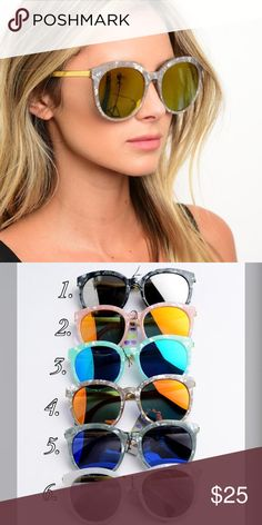 ⚡️Closing Sale ⚡️Marble Mirrored Sunglasses Brand new marbled mirrored sunglasses available in 6 colors. Feel free to purchase this listing and just comment on the color you'd like. Boutique Accessories Sunglasses