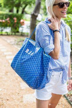 white cutoffs // striped button-up // goyard tote // saint laurent sunnies