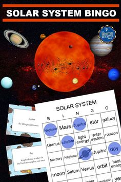 Solar System Bingo reviews facts about the 8 planets and other vocabulary associated with the solar system. A student vocabulary printable and a short assessment are also included. Games For College Students, Bingo Games For Kids, Learning Games For Kids, Small Group Games, Small Groups, Solar System Information, Blank Bingo Cards, 8 Planets, Vocabulary Activities