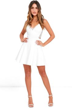 Nice Semi Formal Dresses Each night spent in the Perfect Evening Ivory Lace Skater Dress will be absolute. Hoco Dresses, Spring Dresses, Homecoming Dresses, Sexy Dresses, Cute Dresses, Graduation Dresses, Party Dresses, Dinner Dresses, Shower Dresses