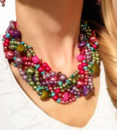Fab for summer! Handmade goodness of pinks, purples, greens, and turquoise. Pearls. Stones. Sparkles. Smiles! :-) https://www.etsy.com/listing/102601459/twisted-statement-necklace-purple-pink