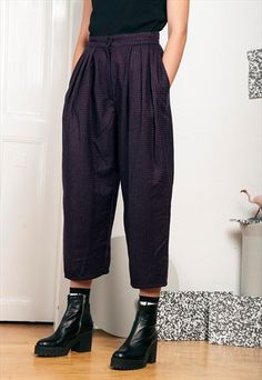 CROPPED TROUSERS - 80S VINTAGE REWORKED PANTS