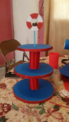 Tiered Cakes, Home Appliances, Breakfast Nook, Nautical Party, House Appliances, Domestic Appliances, Bunting Cake Toppers