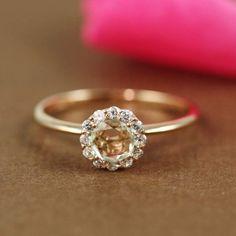 Pink Gold Green Amethyst  White CZ Flower Ring | tooriginal - Jewelry on ArtFire IWANTIT