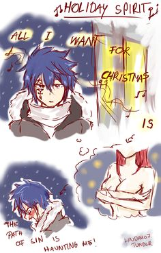 You're Warm Merry Christmas for the Fairy Tail. Fairy Tail Levy, Fairy Tail Ships, Fairy Tail Jellal, Fairy Tail Erza Scarlet, Fairy Tail Funny, Fairy Tail Art, Fairy Tail Guild, Fairy Tales, Anime Fairy