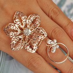 2014 New Arrivals Rose Gold Wedding Ring Fashion Women Jewelry Flower Rings Free Shipping  $1.85
